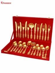 Brass Gold Plated Cutlery Set (27 Pcs)