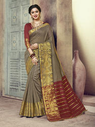 Khaki Designer Traditional Wear Chanderi Cotton Saree with Blouse Piece
