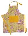 Flower Printed Kitchen Linen Apron
