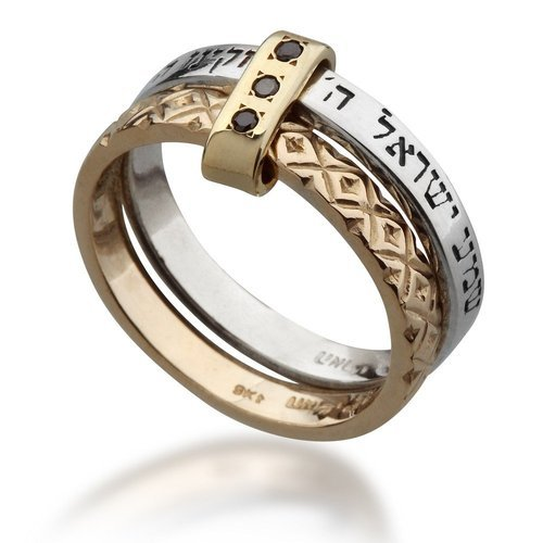 Gold And Silver Ring With Black Diamonds at Rs 5000 piece