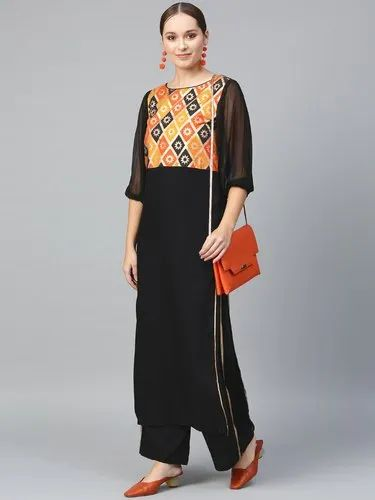 For PartyOutingOffice Women/'s Cotton Straight Kurti With Palazzos Black