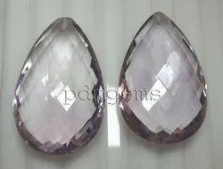Pink Amethyst Faceted Pear Briolette Gemstone
