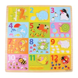Wooden Colorful Early Learning 1-12Numbers with Counting Hands Educational Board for Kids with Knobs