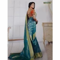 90026cc1da3908 6.3 M (with Blouse Piece) Party Wear Ladies Golden Border Silk Saree