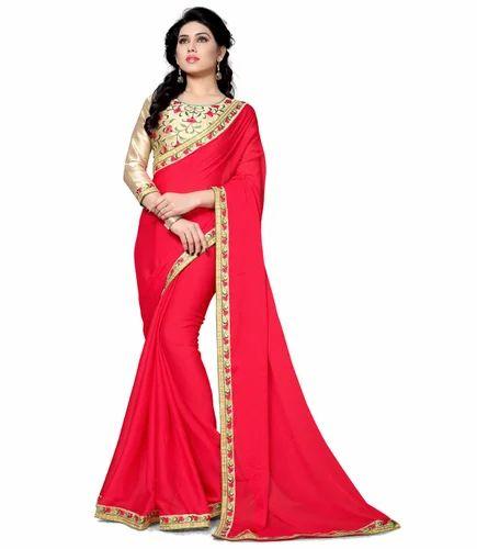 8376aa9c83e RekhaManiyar Fashions Moss Chiffon Party Wear Saree Red at Rs 2175 ...