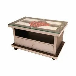Rectangular Wooden and Glass Modern Table, Size: 1200 x 600 (mm)