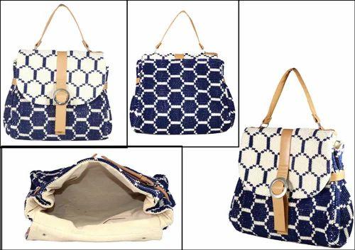 Blue & White Leather Vintage Jacquard Handbag, Packaging Type: Packet