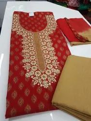 Cotton Embroidered Party Wear Unstitched Suit, Bottom Size (metre): 2.5, Kurti Size (metre): 2.5
