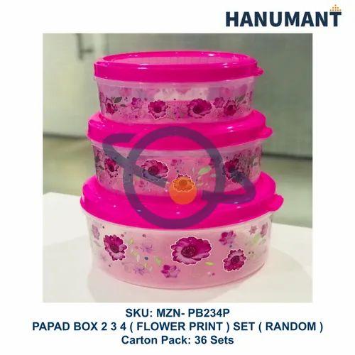 Papad Box 2 3 4 Set Flower Printed Transparent
