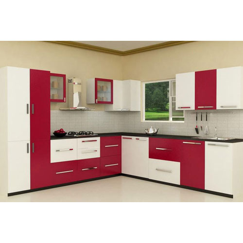 Red And White Fancy Modular Kitchen, Rs 600 /square Feet