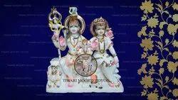 Marble Shiv Parvati Ganesh Statue