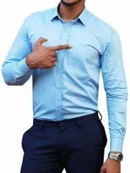 Collar Neck 636 108 Formal Blue Plain Filafil, Machine Wash, Size: 38 To 44