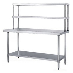 Polished Silver Stainless Steel Rectangular Table, For Commercial Kitchen
