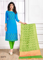 Sparkling Cotton Embroidered Churidar Salwar Kameez