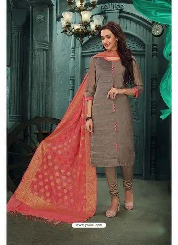 Ladies Chanderi Soft Silk Unstitched Suits