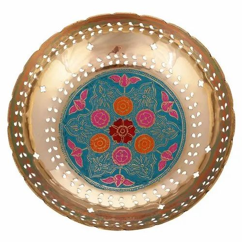 "Multicolor Brass Minakari Bowl Home Decor L9.5"" x W9.5"" x H3"""