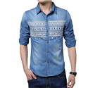 Men's Prints Denim Casual Shirts