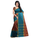 Sea Green Printed Banarasi Silk Saree