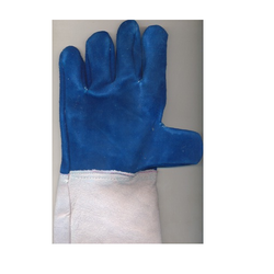 Blue Leather Full Fingered Heat Resistance Hand Gloves