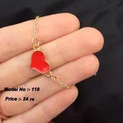Heart With Chain Heart Shape Hand Bracelet