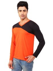Orange & Black Men's Cotton T-shirt