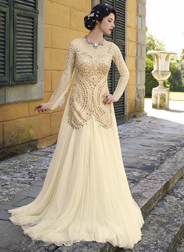 Cream Net Party Wear Antique Work Gown