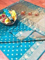 Banarasi Silk Casual Wear Sky Blue Saree With Blouse Piece