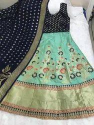 Party Wear Banarsi Silk Lehenga With Cancan Net