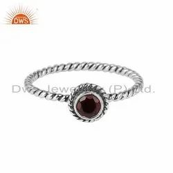 Natural Garnet Gemstone Oxidized Silver Womens Rings