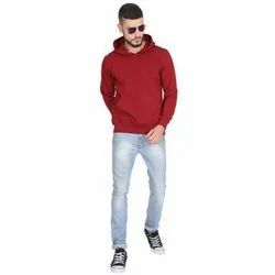 Full Sleeve Polyester Cotton Mens Plain Casual Hoodie