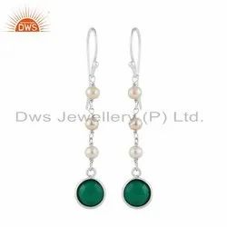 Indian Pearl Green Onyx Gemstone 925 Silver Dangle Earrings Jewelry