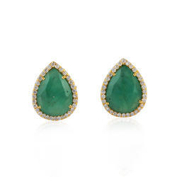 Emerald Gemstone Stud Gold Earrings