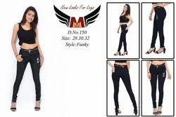 Denim Black Jeans For Ladies, Mid Rise, Machine Wash