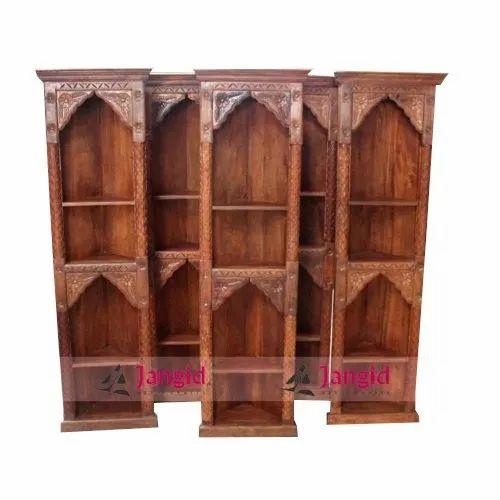 Brown Indian Wooden Corner Carved, Carved Wooden Indian Furniture