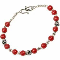 Red Beaded Brass Bracelet 106