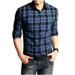 Black And Blue Formal Wear Mens Checked Cotton Shirt, Handwash