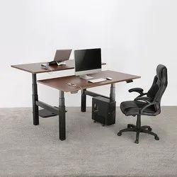 Black 3-Stage Quad Motor Back -To -Back Electric Sit-Stand Desk Frame