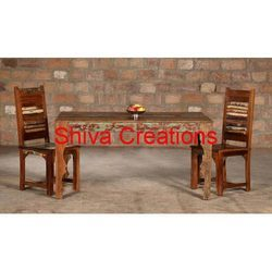 Shiva Creations 2 Chair With Table Reclaimed Restaurant Furniture