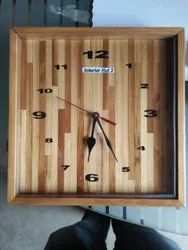 Plain Square Wooden Wall Clock