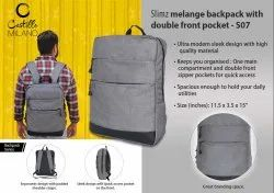 S07 - Slimz Grey Backpack With Double Front Pocket By Castillo Milano
