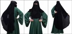 Women's Georgette Niqab Parda With Layeres For Islamic Abaya And Burkha Nosepiece