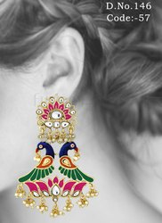Designer Peacock Meenakari Kundan Earrings