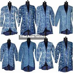 Blue Kantha Hand Embroidery Block Print Jacket, Size: XXL