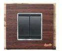 2 Module Teak Wood Modular Switch Plate