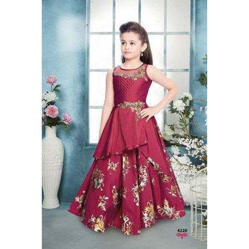 75e096ef4 Maroon Party Wear Kids Girl Designer Gown