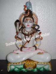 Lord Shiva White Marble Statue