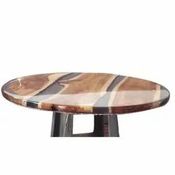 Transparent Rectangular Wooden Round Table