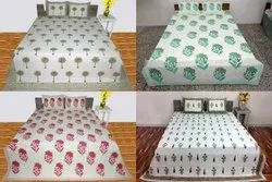 Hand Block Printed Bedsheet (With 2 Pillow Case)