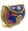Vintage Handmade Metal Mosaic Stone Purse Metal Handbag Sling Bag