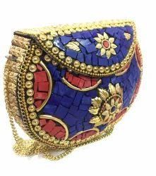 Vintage Handmade Metal Mosaic Stone Purse Metal Handbag Sling Bag 5d055e24b3d00